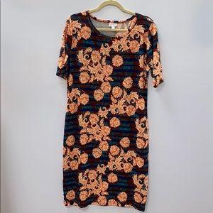 Lularoe Julia XL Stripe Floral Fitted Dress